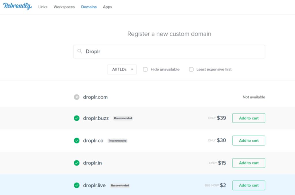 rebrandly custom domain