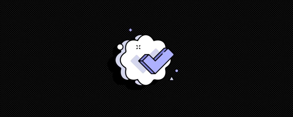 discord verification logo featuring a purple checkmark on a cloud