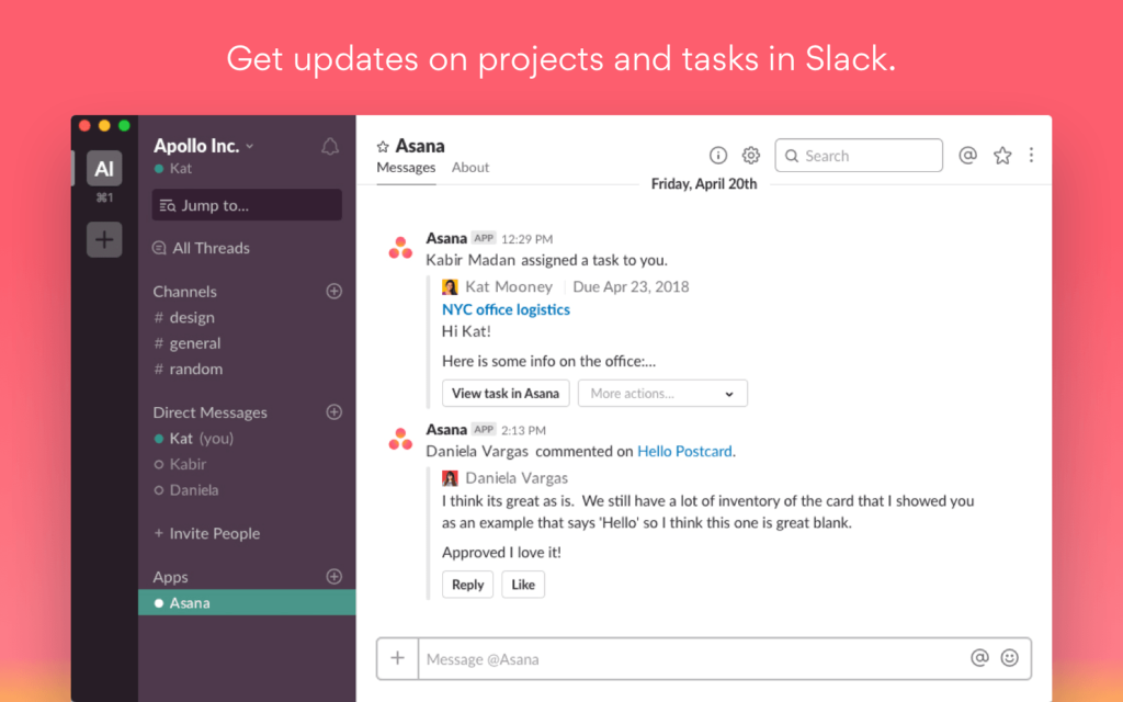 get updates on projects and tasks in slack with asana