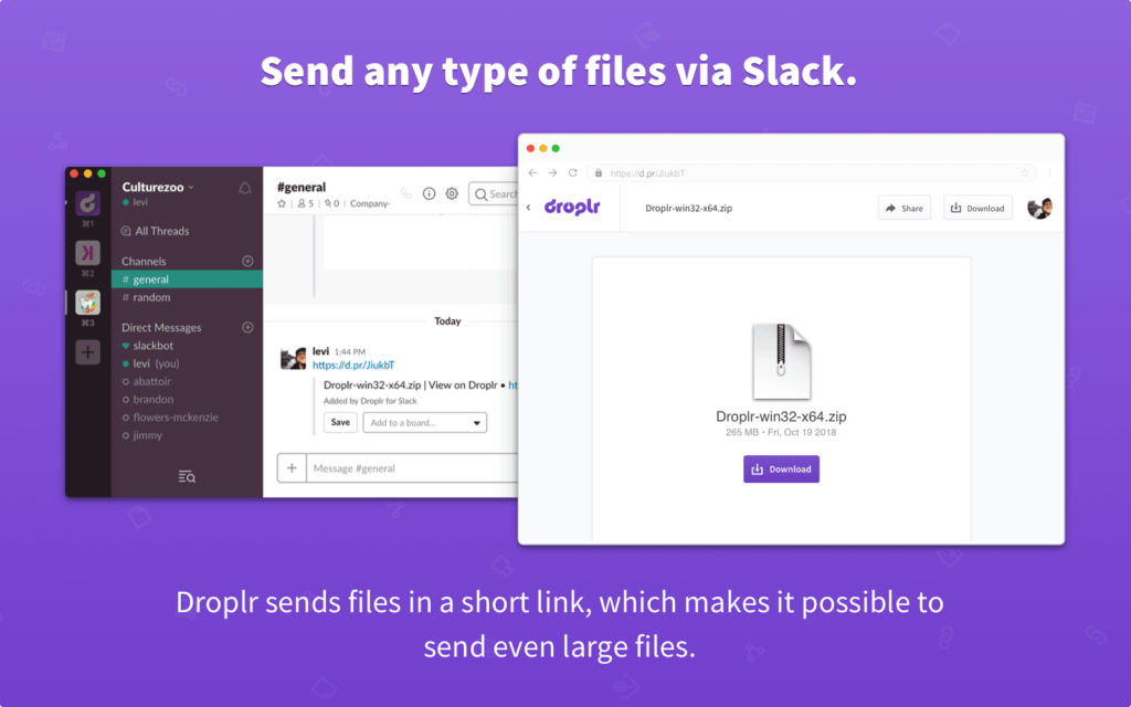 send any type of files via slack with droplr