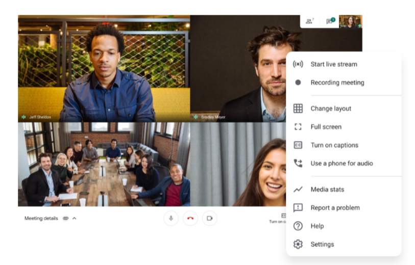 google meet video conference options