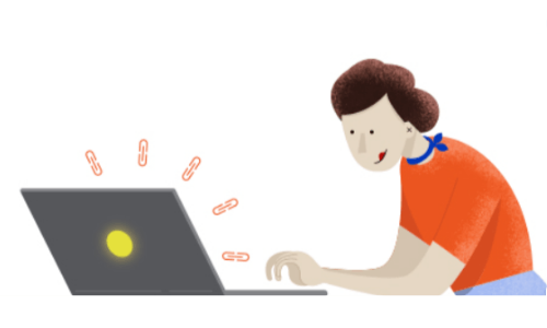 a woman using a laptop with link icons coming up off of it