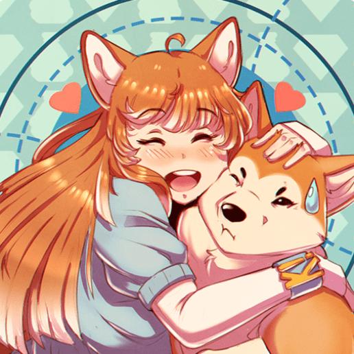 karuta logo featuring an orange-haired anime girl and shiba inu dog