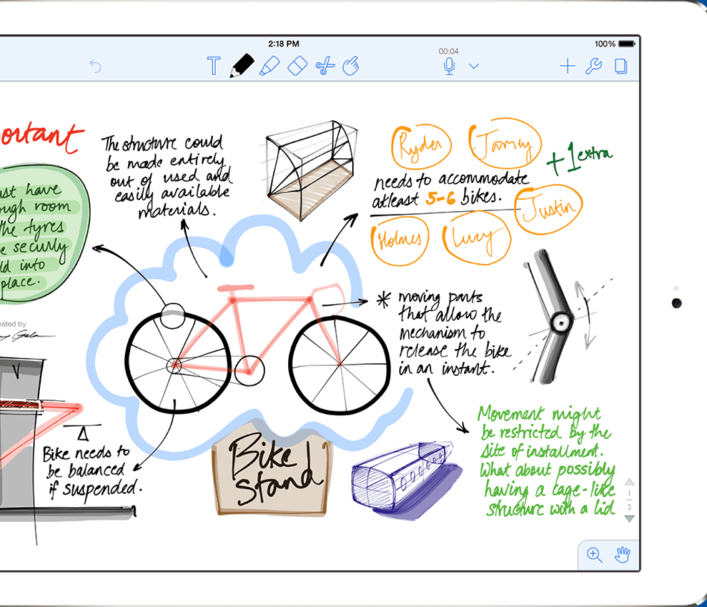 drawn image of a bike with notes on the ipad app notability