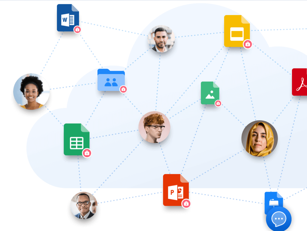 various people and application icons connected to one another through dotted lines
