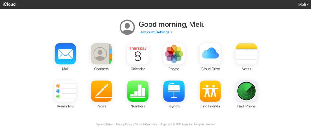 icloud online account with list of apps