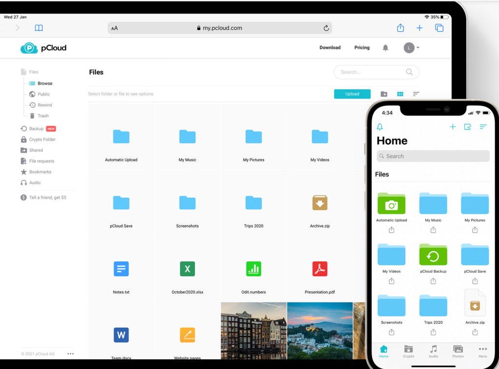 pcloud files on desktop and mobile