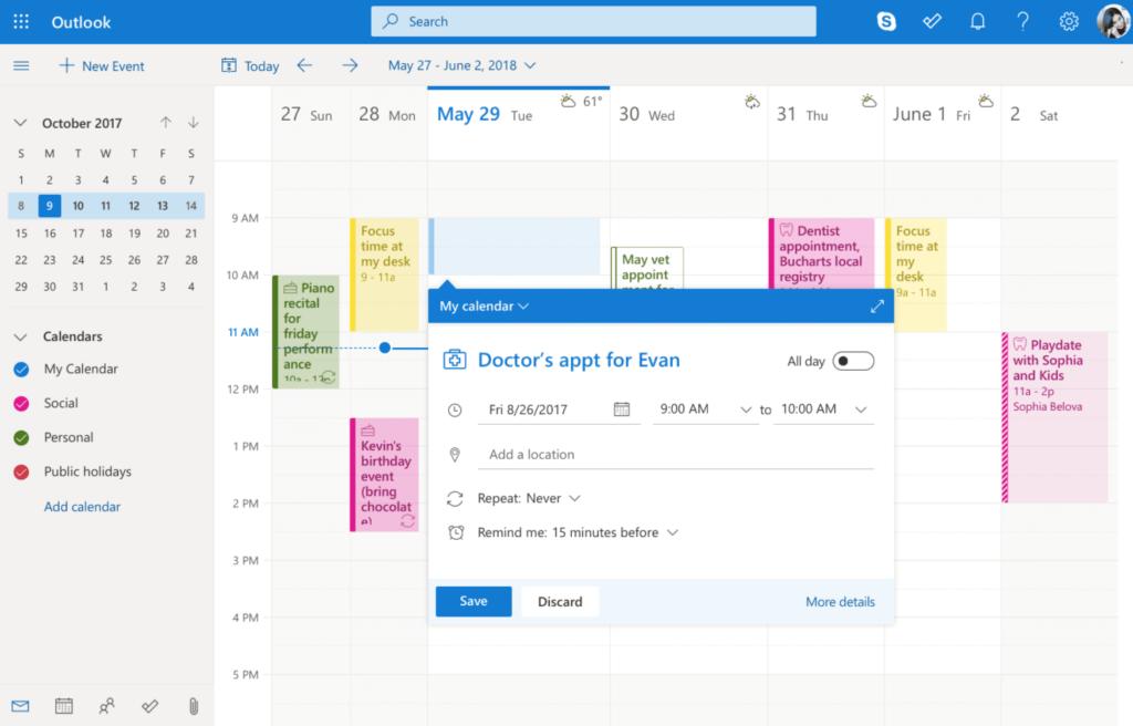 microsoft outlook calendar weekly view