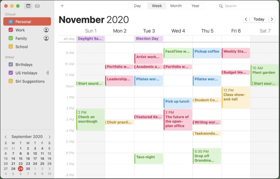 Mac Calendar app shown in weekly display