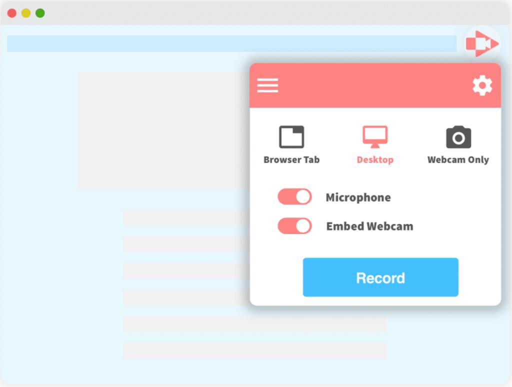 screencastify desktop tab and record button