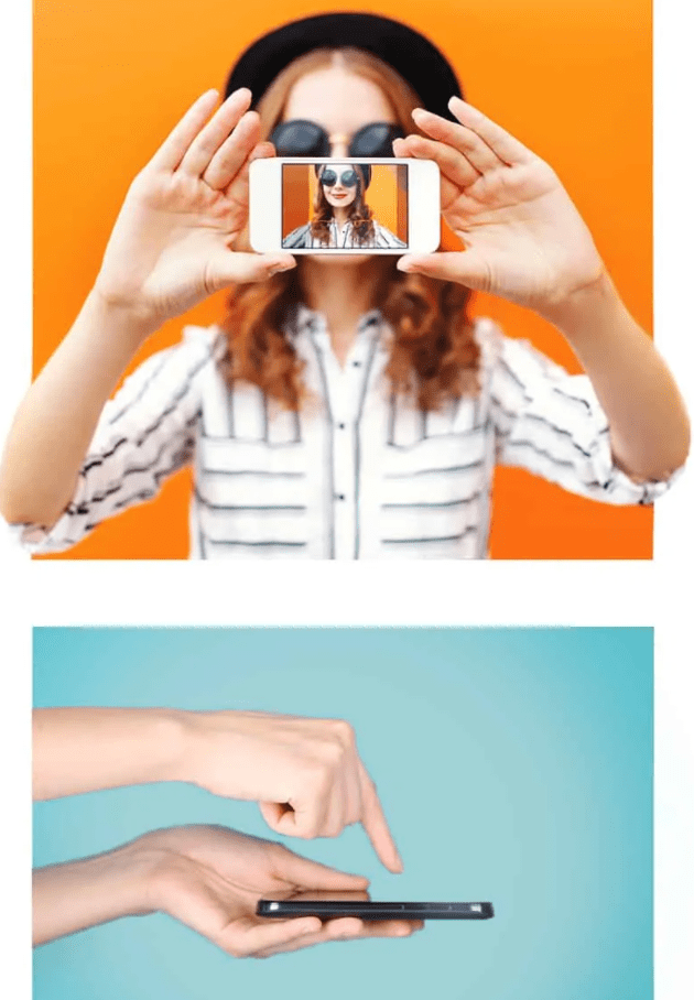 woman recording her face for a video on mobile, then clicking send on her phone