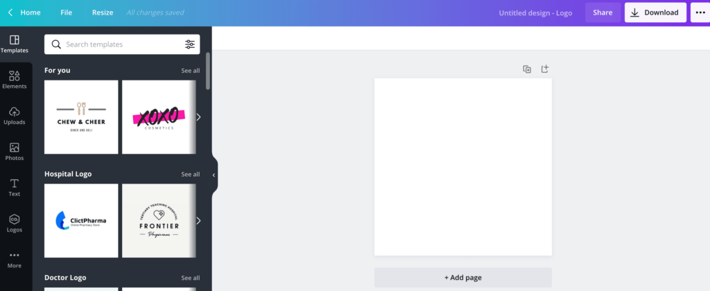 a new untitled logo design on canva with templates on the left tab