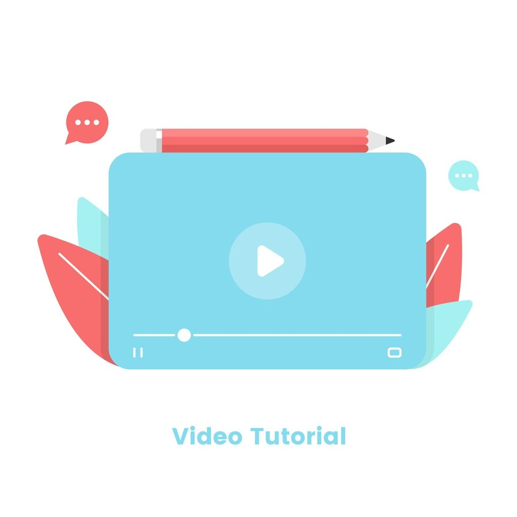 video tutorial with video player and pencil on top