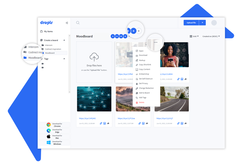 droplr dashboard settings and boards
