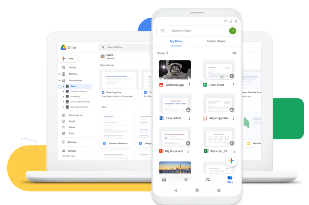 google drive on mobile and laptop