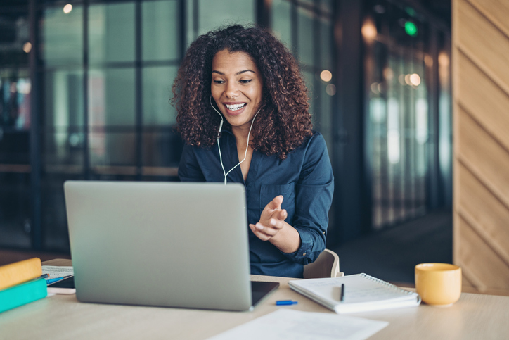 businesswoman on a laptop having a video call