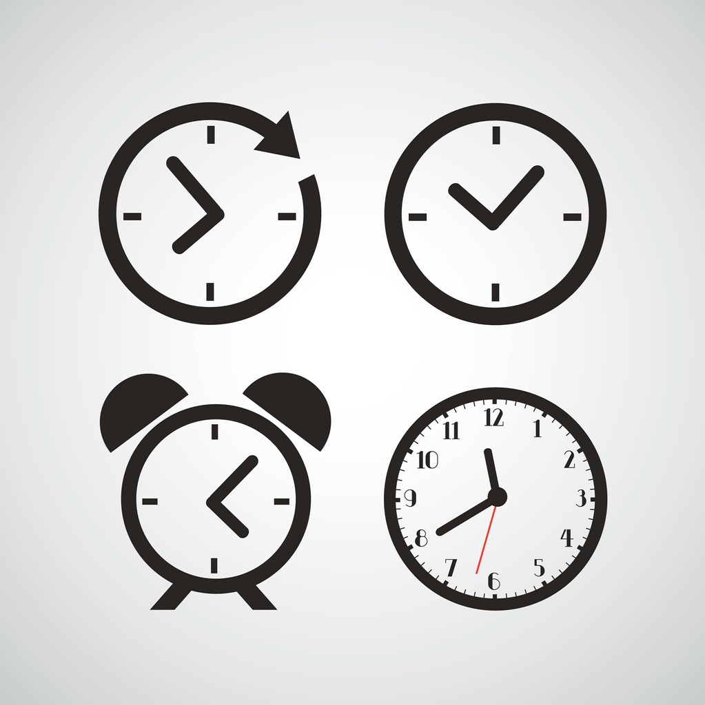 4 clocks showing different times
